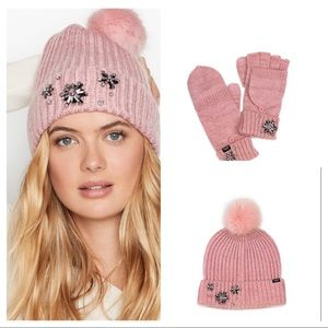 Victoria Secret Pink Pom Hat & Mitten Set